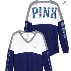 Small PINK Bling Varsity Tee NWT in online package PINK Victoria's Secret Tops