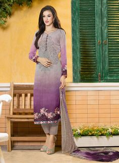 Buy Double Shade Purple Salwar Kameez Only on Glameve.com