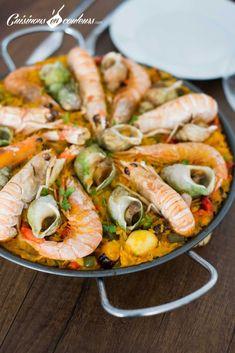 Paëlla aux fruits de mer expliquée pas à pas - Cuisinons En Couleurs Couscous, Shrimp, Seafood, Fish, Meat, Cooking, Desserts, Recipes, Galette