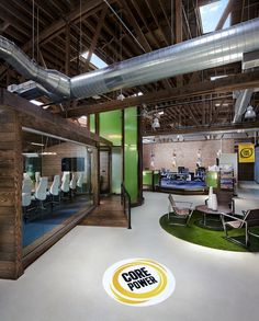 Office Tour: Box Studios designs an agrarian-inspired office space for Core Power in Chicago    I would like an open-concept industrial type building design similar to this for a therapy clinic- lower maintenance
