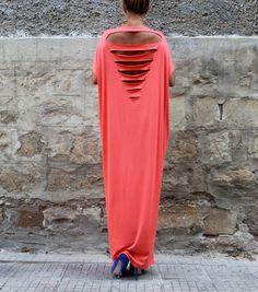 Backless Coral Caftan, Maxi dress, Abaya, Plus size dress, Open back dress, Oversized dress, Party dress, Summer dress