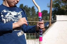 DIY Bow & Arrow - No summer camp is complete without archery! Head over to Matzo Ball Soup for instructions to build your own natural bow and arrows using branches, yarn and fishing line.
