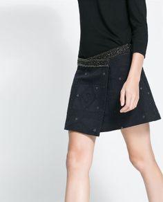 JACQUARD SKIRT WITH BEADED WAIST from Zara