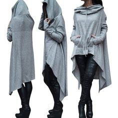 TRY Women\'s Fashion Solid Color Draw Cord Coat Long Sleeve Loose Casual Poncho Coat Hooded Pullover Long Hoodies Sweatshirts