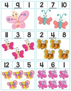 Teach counting skills with Butterflies! Great for teaching counting skills and number recognition for numbers Package includes 18 quick prep cards, great for math centers! Kindergarten Math Activities, Math Literacy, Kids Learning Activities, Preschool Worksheets, Toddler Activities, Preschool Activities, Preschool Letter B, Numbers Preschool, Body Preschool