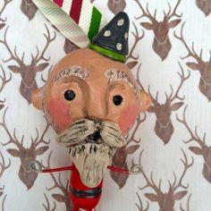 Woodland Santa Christmas Folk art Ornament by indigotwin on Etsy