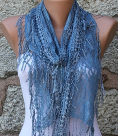 Blue  Shawl Scarf  Headband Necklace Cowl by fatwoman on Etsy, $17.00