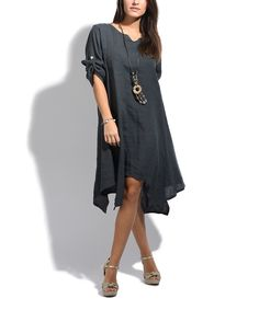 Take a look at this LIN nature Gray Laititia Linen Dress - Plus Too today!