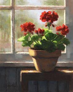 """Geraniums by the Window"" - Original Fine Art for Sale - © Linda Jacobus"