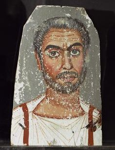 Fayum Portrait / Bearded Man Mummy portrait of a bearded man.  Encaustic on wood, 33.4 × 22cm. From Fayum (Egypt).