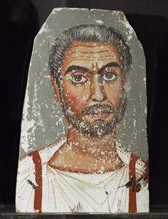 Fayum Portrait / Bearded Man Mummy portrait of a bearded man. Encaustic on wood, 33.4 × 22cm. From Fayum (Egypt).