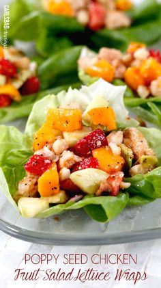 { poppyseed chicken fruit salad lettuce wraps }