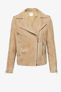 ANINE BING Biker suede jacket in beige