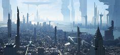 Thiên-Co PHAM // Digital Matte Painter - Art Director - Paris - Matte painting Cyberpunk City, Futuristic City, Fantasy City, Sci Fi Fantasy, Matte Painting, Sci Fi City, Blue City, City Aesthetic, City Landscape