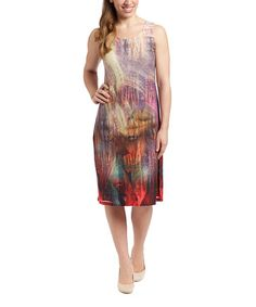 Another great find on #zulily! Brown Abstract Sleeveless Sheath Dress - Women #zulilyfinds