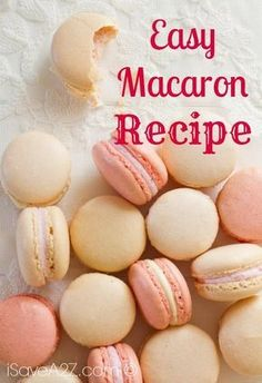 Easy Macaron Recipe to make your favorite French Macarons at home. Easy, sweet, and delicate Check out our new and Easy Macaron Recipe! If you've every wanted to try these adorable little desserts, this recipe is the most basic way! Köstliche Desserts, Delicious Desserts, Dessert Recipes, Yummy Food, Recipes Dinner, French Desserts, Plated Desserts, Recipes For Sweets, Easy Sweets