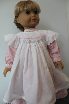 American GIrl Doll Clothes -- Prairie style Dress and Upcycled Vintage Pinafore with Smocking in Pink & White -- C164. $68.00.