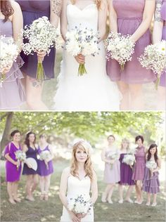 LOVE the different shades of purple and the all different styles, but they need to be floor length for a fall wedding.