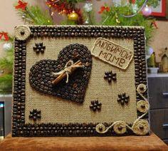 Юлия Колоусова Rock Crafts, Diy And Crafts, Crafts For Kids, Arts And Crafts, Coffee Bean Art, Coffee Beans, Seed Art, Diy Y Manualidades, Coffee Crafts