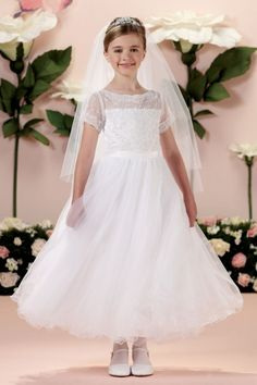 First Communion Dress with Lace Appliqué and Illusion Bodice - White
