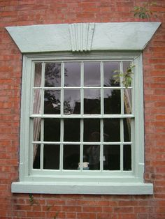 lovely sash window Exterior Paint Colors, Paint Colours, Sash Windows, House Doors, Red Bricks, Entrance, New Homes, Walls, London