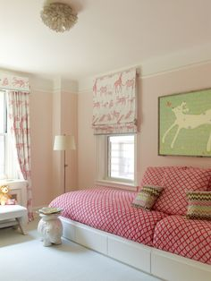 Robin-henry-studio-portfolio-interiors-modern-traditional-living-room | outside mount roman shades | kids room | drapery | twin beds