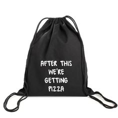 AFTER THIS PIZZA GYM BAG ($10) ❤ liked on Polyvore featuring bags, vintage backpacks, drawstring sport bag, backpack bags, drawstring bag and backpack gym bag
