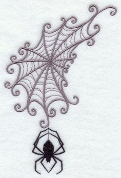 Embroidery Designs Ideas Machine Embroidery Designs at Embroidery Library! Embroidery Tattoo, Embroidery Stitches, Embroidery Patterns, Hand Embroidery, Halloween Embroidery, Hungarian Embroidery, Halloween Tattoo, Halloween Spider, Spider Web Tattoo