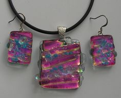 Another unusual set made by me using a lot of clear glass strips to give one the perception of more depth in the piece. Made in December 2014, Unique Glass Art by Marion.