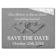 Save the date wedding postcard | Beach theme. Black and white photo image with romantic hearts on the coast. Entwined hearts drawn in the sand. Great for reminding guests of your maritime or beach wedding. Personalizable bride and groom name with elegant text. #nautical #sailing #wedding #beach #photo #save #the #date #heart #in #sand #drawn #hearts #entwined #hearts #maritime #romantic #drawing