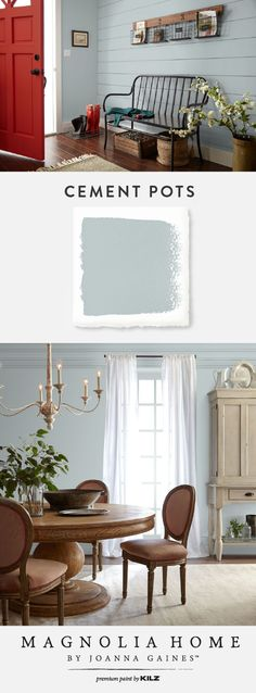 You can use the interior paint colors from the Magnolia Home by Joanna Gaines™ Paint collection in many different ways throughout your home. The light blue-gray hue of Cement Pots fits beautifully in this farmhouse chic entryway as well as in this elegant Paint Colors For Living Room, Paint Colors For Home, House Colors, Magnolia Paint Colors, Entryway Paint Colors, Magnolia Homes Paint, Dining Room Paint Design, Wall Colors, Light Blue Paint Colors