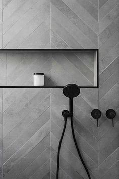 Affordable Stone Tiles Designs For Bathroom Shower Affordable Stone Tile Designs for the Bathroom Shower 23 Tuile Chevron, Chevron Tile, Grey Chevron, Grey Tiles, Chevron Bathroom, Bathroom Colors, Colourful Bathroom Tiles, Chevron Floor, White Tiles