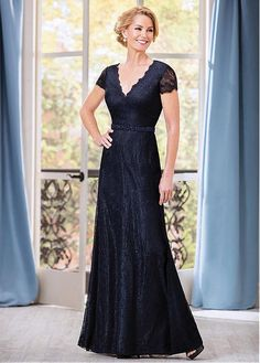 Buy discount Glamorous Lace V-neck Floor-length A-line Mother of The Bride Dresses With Beadings at Dressilyme.com