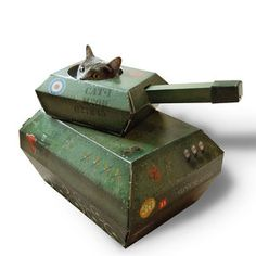 Tank Cat Playhouse, $28, now featured on Fab. Because he attacks me so much!!!