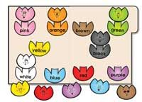 Learn colors and color words by matching the colored tulip top to its…