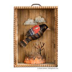 Redwing Faux Taxidermy Blackbird Bird Diorama in Wood Box