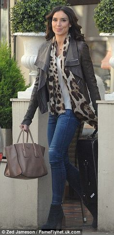 Wild thing: Christine looked chic as she opted to liven up her casual outfit with a leopard print scarf Baby Bumped Head, Christine Bleakley, Leopard Print Scarf, Out To Lunch, Holly Willoughby, Baby Bumps, Mail Online, Daily Mail, Winter Style