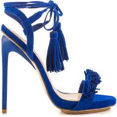 Privileged Women's Miami - Royal Blue (330 PEN) ❤ liked on Polyvore featuring shoes, blue, synthetic shoes, sexy stilettos, tassel shoes, blue stilettos and fringe shoes