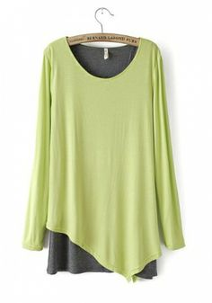 Chartreuse Blending Round Neck Long Sleeve Plain Patchwork TOPS