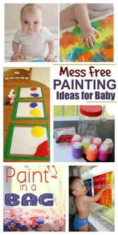 20 paint recipes & art activities for babies & toddlers. I love the MESS FREE art ideas! {Taste safe recipes} : 20 paint recipes & art activities for babies & toddlers. I love the MESS FREE art ideas! Baby Art Activities, Activities For 1 Year Olds, Toddler Learning Activities, Activities For Infants, 1year Old Activities, Creative Activities For Toddlers, Indoor Activities, Physical Activities, Baby Sensory Play