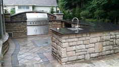 Large Full Sized Outdoor Kitchen with Stainless Steel Appliances, Outdoor… Outdoor Kitchen Countertops, Granite Countertops, Outdoor Kitchen Design, Outdoor Kitchens, Outdoor Lighting, Outdoor Decor, Stainless Steel Appliances, New Kitchen, Backyard Landscaping