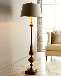 Shop Burnished Gold Floor Lamp from John-Richard Collection at Horchow, where you'll find new lower shipping on hundreds of home furnishings and gifts. Diy Floor Lamp, Gold Floor Lamp, Wood Desk Lamp, Wooden Lamp, Home Decor Furniture, Home Furnishings, Traditional Floor Lamps, Dining Lighting, Candle Wall Sconces