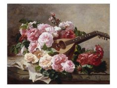 Still life With Roses and Mandolin ~ Georges Jeannin