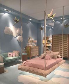 Cute Bedroom Design Ideas For Kids And Playful Spirits teenager zimmer mädchen schmetterlinge wand deko Cute Bedroom Ideas, Girl Bedroom Designs, Awesome Bedrooms, Cool Rooms, Bedroom Themes, Bed Designs, Kids Bedroom Ideas For Girls, Girs Bedroom Ideas, Nursery Ideas