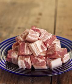 Cubes of pork belly, ready for Pozole Rojo, the delicious, traditional Mexican pork and hominy soup with chiles.