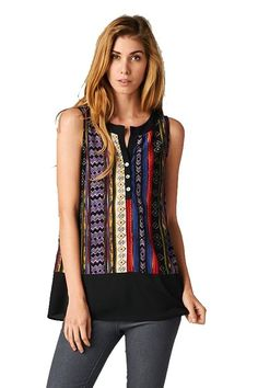 On Trend Sleeveless Aztec Tunic with Button Detail (Medium)