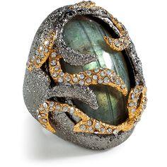 ALEXIS BITTAR Labradorite/Midnight Vine Encrusted Ring ($205) ❤ liked on Polyvore