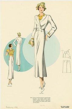 Costume-sport en grosse toile blanche - ID: 1599808 - NYPL Digital Gallery 1930s Fashion, Fashion Mode, Art Deco Fashion, Look Fashion, Retro Fashion, Vintage Fashion, Victorian Fashion, French Fashion, Ladies Fashion