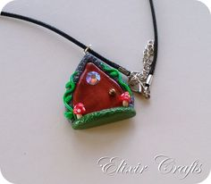 Items similar to On Sale: Fairy Miniature Door Necklace Polymer Clay Mushroom Fairyland on Etsy Polymer Clay Necklace, Fairy, Miniatures, Necklaces, Shoulder Bag, Trending Outfits, Unique Jewelry, Handmade Gifts, Crafts