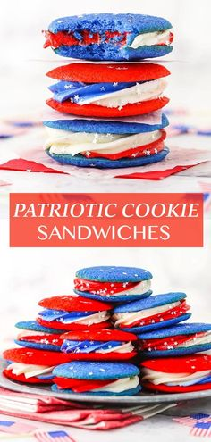 These Red, White and Blue Cookie Sandwiches are perfect for any patriotic holiday! They are easy, festive and delicious! Blue Cookies, Ginger Cookies, Filled Cookies, Heart Cookies, Patriotic Desserts, 4th Of July Desserts, Summer Desserts, Holiday Cookie Recipes, Holiday Cookies